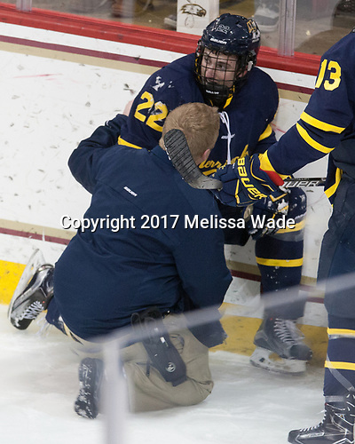 Eric Manz (Merrimack - Athletic Trainer), Mathieu Tibbet (Merrimack - 22) - The visiting Merrimack College Warriors defeated the Boston College Eagles 6 - 3 (EN) on Friday, February 10, 2017, at Kelley Rink in Conte Forum in Chestnut Hill, Massachusetts.