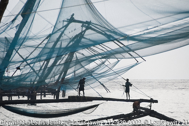 India, Kochi ,Cochin The Chinese fishing nets , Cheena vala ,near Fort Kochi outside jew town,tough by Chinese explorer Zheng He to india fisherman