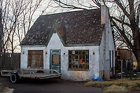 This appears to be the reamains of a Magnolia Gas Station in Elk City Oklahoma on Route 66.