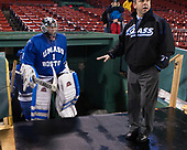 The Beacons' coaches wore baseball jackets. - The UMass Boston Beacons defeated the Babson College Beavers 5-1 on Thursday, January 12, 2017, at Fenway Park in Boston, Massachusetts.