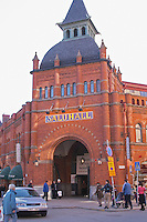 The Östermalms Saluhall Östermalmshallen Ostermalms Ostermalmshallen food market building in Stockholm housing a luxury food market, built in red brick style in the 1880s a888 designed by the architects Gustaf Clason and Kasper Salin. Stockholm, Sweden, Sverige, Europe
