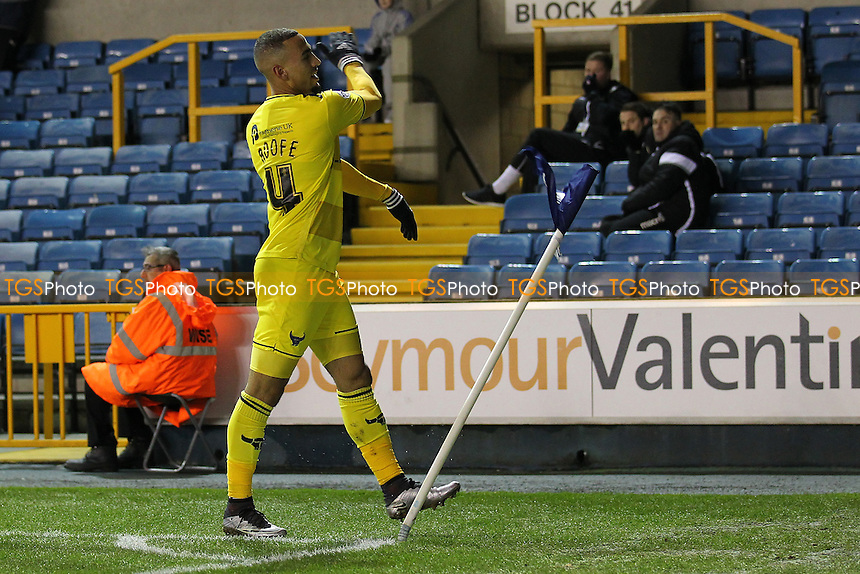 Kemar Roofe of Oxford United scores the first goal for his team and celebrates during Millwall vs Oxford United at The Den