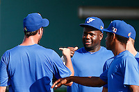 19 September 2012: France Rene Leveret congratulates Eric Gagne during Team France friendly game won 6-3 against Palm Beach State College, during the 2012 World Baseball Classic Qualifier round, in Lake Worth, Florida, USA.