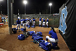 CHAPEL HILL, NC - FEBRUARY 24: Hampton players wait in the first base bullpen as the preceding game extends into extra innings. The Hampton University Pirates played the Towson University Tigers on February, 24, 2017, at Anderson Softball Stadium in Chapel Hill, NC in a Division I College Softball match. Towson won 17-2 in a five inning run-rule game.