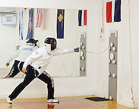 Matthew Mitchell of Glenside, Pennsylvania practices fencing at Liberty Fencing Club April 7, 2015 in Warrington, Pennsylvania.  (Photo by William Thomas Cain/Cain Images)