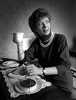 President Mary Robinson enjoying breakfast on the campaign trail in 1987..Picture by Don MacMonagle