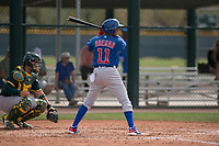 Chicago Cubs shortstop Aramis Ademan (11) at bat during a Minor League Spring Training game against the Oakland Athletics at Sloan Park on March 13, 2018 in Mesa, Arizona. (Zachary Lucy/Four Seam Images)