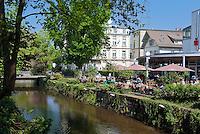Germany, Baden-Wuerttemberg, Baden-Baden: Restaurant-Cafe WALLSTREET at Hamilton, at river Oos | Deutschland, Baden-Wuerttemberg, Baden-Baden: Restaurant-Cafe WALLSTREET im Hamilton, am Fluss Oos