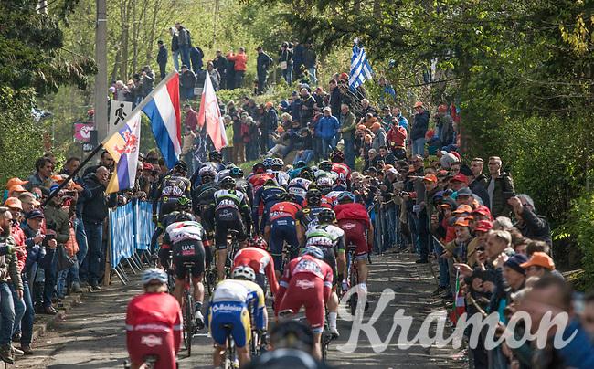 Peloton climbing the infamous Mur de Huy <br /> <br /> 81st Fl&egrave;che Wallonne 2017 (1.UWT)<br /> 1day race: Binche &gt; Huy 200,5KM