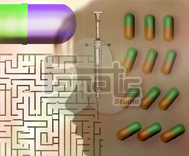 Concept image of a young woman's profile, hypodermic needle maze and capsules depicting the risk of taking medicine