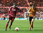 Conor Coady of Wolverhampton Wanderers trying to closedown Christhian Stuani of Middlesbrough - Sky Bet Championship - Middlesbrough vs Wolverhampton Wanderers - Riverside Stadium - Middlesbrough - England - 4th of March 2016 - Picture Jamie Tyerman/Sportimage