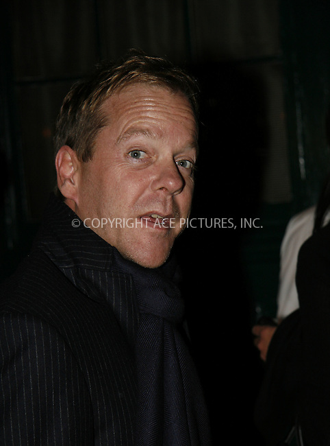 WWW.ACEPIXS.COM . . . . .  ....April 19 2008, New York City....Actor Keifer Sutherland at the Waverley Inn in The West Village.....Please byline: NANCY RIVERA- ACE PICTURES.... *** ***..Ace Pictures, Inc:  ..tel: (646) 769 0430..e-mail: info@acepixs.com..web: http://www.acepixs.com