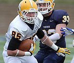 SIOUX FALLS, SD - MAY 4:  Jake Bartscher #85 from Augustana offense makes a move past Ross Peterson #33 from the defense during the Vikings Spring Game Saturday morning at Kirkeby-Over Stadium on the Augustana College Campus. (Photo by Dave Eggen/Inertia)