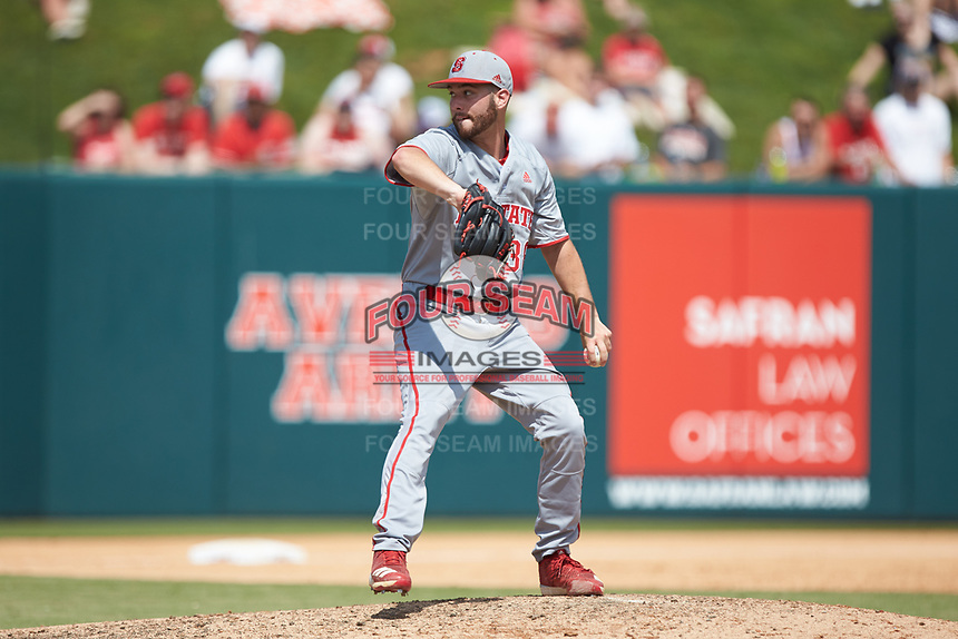 North Carolina State Wolfpack starting pitcher Brian Brown (38) in action against the Northeastern Huskies at Doak Field at Dail Park on June 2, 2018 in Raleigh, North Carolina. The Wolfpack defeated the Huskies 9-2. (Brian Westerholt/Four Seam Images)