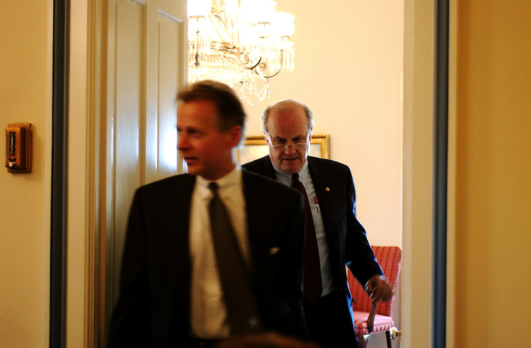 "2Rules111301 -- Chairman David Dreier, R-Ca., and Fred Thompson, R-Tenn., enter the House Rules committee meeting room after a private meeting in Dreier's office. The House Rules was meeting in full committee for original jurisdiction hearing on the ""President's Freedom to Manage Initiative."""