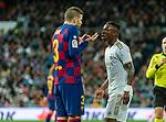 FC Barcelona's defense Gerard Pique and Real Madrid CF's Vinicius Jr discuss during La Liga match. Mar 01, 2020. (ALTERPHOTOS/Manu R.B.)