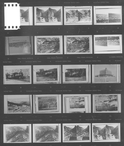 Contact print of 20-picture roll of Kodak 5052 TMX with images of mostly other pictures with some stereos.