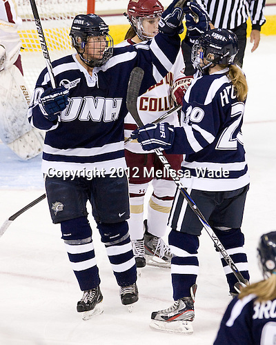 Kristina Lavoie (UNH - 10), Jessica Hitchcock (UNH - 20) - The Boston College Eagles defeated the visiting University of New Hampshire Wildcats 5-2 on Sunday, October 21, 2012, at Kelley Rink in Conte Forum in Chestnut Hill, Massachusetts.