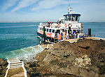 Trident Travel ferry Rosaire Steps, Island of Herm, Channel Islands, Great Britain