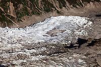 Glacier on the Mont Blanc Massif, near Chamonix, France.