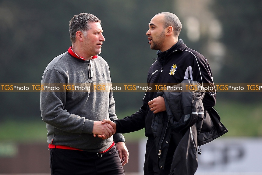 Hornchurch manager Jimmy McFarlane (L) shakes hands with Aveley manager Justin Gardner during AFC Hornchurch vs Aveley, Ryman League Divison 1 North Football at Hornchurch Stadium on 12th March 2016