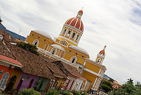 The cathedral and Calle La Calzada in the Spanish colonial city of Granada, Nicaragua