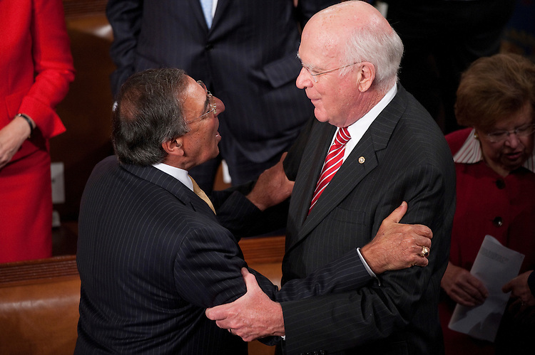 UNITED STATES - SEPTEMBER 8: Defense Secretary Leon Panetta, left, speaks with Sen. Pat Leahy, D-Vt., before President Barack Obama's speech on jobs to a joint session of Congress on Thursday, Sept. 8, 2011. (Photo By Bill Clark/Roll Call)