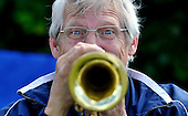 Cricket Scotland Scottish Cup - Uddingston CC V Dunfermline CC at Arbroath CC - Uddingston's former player and President David Baxter brought out his trumpet for the occassion and serenaded the crowd with a rendition of Last Post as wickets fell - Picture by Donald MacLeod - 20.08.11 - 07702 319 738 - www.donald-macleod.com