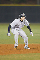 Wake Forest Demon Deacons pinch-runner Luke Czajkowski (26) takes his lead off of second base against the Davidson Wildcats at Wilson Field on March 19, 2014 in Davidson, North Carolina.  The Wildcats defeated the Demon Deacons 7-6.  (Brian Westerholt/Four Seam Images)