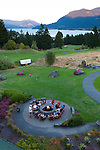 The outdoor fire pit at Skamania Lodge located in Washington's Columbia River Gorge