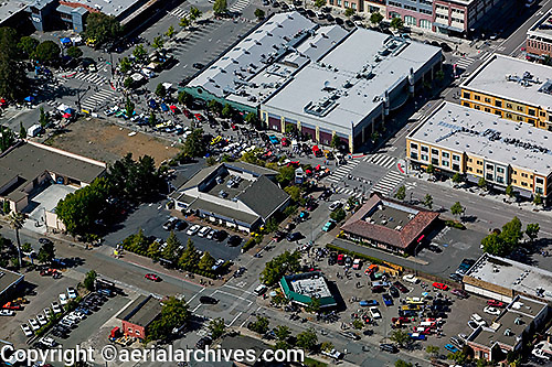 aerial photograph vintage car show downtown Petaluma, Sonoma county, California