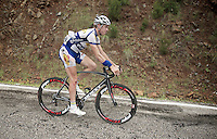 Jelle Wallays (BEL/Topsport Vlaanderen-Baloise) is one of teh many riders that went down on top o fthe descent and is now forced to (very slowly) continue to the neutralised peloton at the botom.<br /> <br /> Tour of Turkey 2014<br /> stage 4