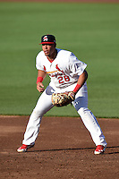 Springfield Cardinals first baseman Jonathan Rodriguez (28) during a game against the Frisco Rough Riders on June 1, 2014 at Hammons Field in Springfield, Missouri.  Springfield defeated Frisco 3-2.  (Mike Janes/Four Seam Images)