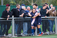 Reisse Allassani of Dulwich Hamlet celebrates scoring the equaliser during Harlow Town vs Dulwich Hamlet, Buildbase FA Trophy Football at The Harlow Arena on 11th November 2017