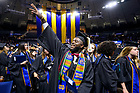 May 19, 2019; Former football player Dexter Williams celebrates after the College of Arts & Letters degree ceremony, 2019 Commencement. (Photo by Matt Cashore/University of Notre Dame)
