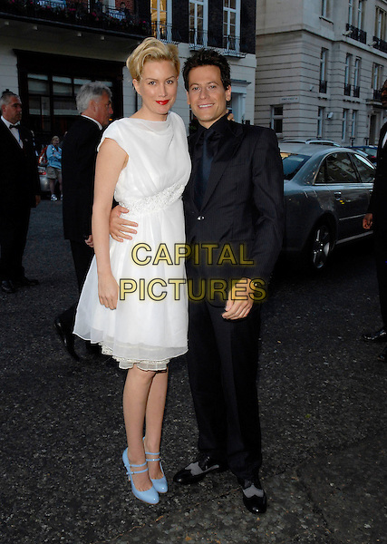 ALICE EVANS & IOAN GRUFFUDD.Arrivals at the 4th Annual Glamour Women Of The Year Awards, Berkely Square Gardens, London, England. .June 5th 2007.full length white dress black suit blue patent double strap Mary Jane shoes Mui Mui couple .CAP/FIN.©Steve Finn/Capital Pictures