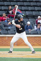Matt Conway (25) of the Wake Forest Demon Deacons at bat against the Florida State Seminoles at Wake Forest Baseball Park on April 19, 2014 in Winston-Salem, North Carolina.  The Seminoles defeated the Demon Deacons 4-3 in 13 innings.  (Brian Westerholt/Four Seam Images)
