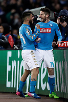 Napoli's Dries Mertens, right, celebrates with teammate Lorenzo Insigne after scoring during the round of 16 second leg soccer match Champions League between Napoli and Real Madrid at the San Paolo stadium, 7 March 2017. Real Madrid won 3-1 to reach the quarter-finals.<br /> UPDATE IMAGES PRESS/Isabella Bonotto