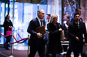 Attorney General Scott Pruitt (Republican of Oklahoma), left, arrives at Trump Tower in Manhattan, New York, USA, on Wednesday, December 7, 2016. <br /> Credit: John Taggart / Pool via CNP