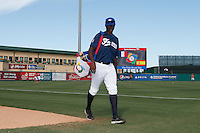 20 September 2012:  Frederic Hanvi arrives on the field prior to Spain 8-0 win over France, at the 2012 World Baseball Classic Qualifier round, in Jupiter, Florida, USA.