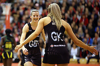 14.09.2016 Silver Ferns Katrina Grant and Jane Watson in action during the Taini Jamison netball match between the Silver Ferns and Jamaica played at Arena Manawatu in Palmerston North. Mandatory Photo Credit ©Michael Bradley.