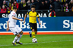09.02.2019, Signal Iduna Park, Dortmund, GER, 1.FBL, Borussia Dortmund vs TSG 1899 Hoffenheim, DFL REGULATIONS PROHIBIT ANY USE OF PHOTOGRAPHS AS IMAGE SEQUENCES AND/OR QUASI-VIDEO<br /> <br /> im Bild | picture shows:<br /> Jadon Sancho (Borussia Dortmund #7) setzt sich gegen Ermin Bicakcic (Hoffenheim #4) durch, <br /> <br /> Foto © nordphoto / Rauch