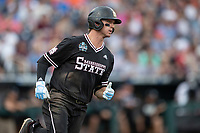 Mississippi State Bulldogs shortstop Jordan Westburg (11) runs to first base during Game 5 of the NCAA College World Series against the Auburn Tigers on June 16, 2019 at TD Ameritrade Park in Omaha, Nebraska. Mississippi State defeated Auburn 5-4 6-3. (Andrew Woolley/Four Seam Images)