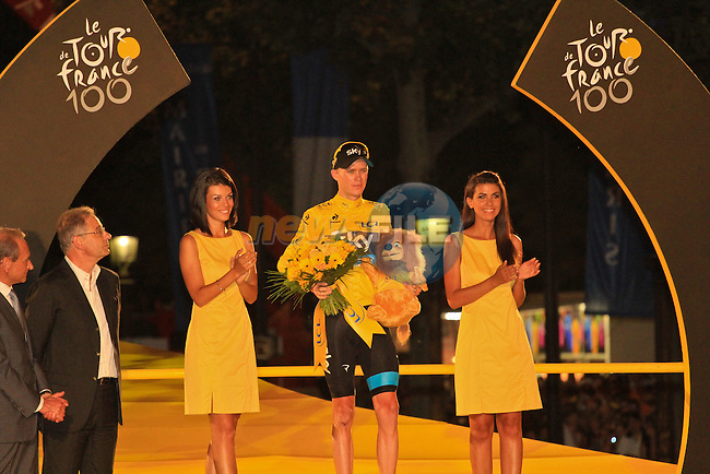 Christopher Froome (GBR) Sky Procycling wins the Yellow Jersey and the 2013 Tour de France at the end of the Final Stage 21 of the 100th Edition of the 2013 Tour de France from Versailes to Paris Champs-Elysees. 21st July 2013.<br /> (Photo:Thomas van Bracht / Peloton Photos/www.newsfile.ie)
