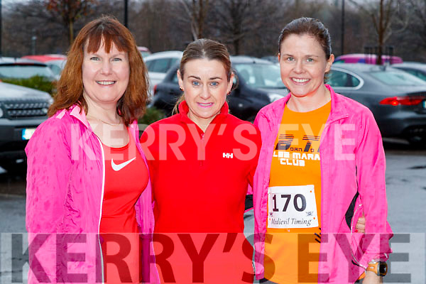 Mags O'Connor, Anne Kelliher and Tracy Smith, all from Tralee, who took part in the Optimal Fitness 10 miler and 5k road race, at The Rose Hotel, Tralee, on Sunday morning last.