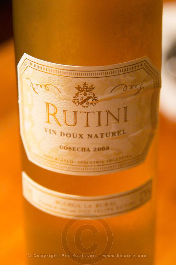 Bottle of Rutini Vin Doux Naturel sweet white wine 2003, Bodega La Rural, Maipu, Mendoza The Rosa Negra Restaurant, The Black Rose, Buenos Aires Argentina, South America San Felipe, La Rural Vinedos y Bodegas Winery