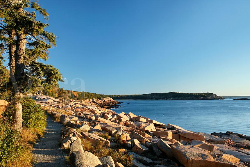 Trail along rocky shoreline, Frenchman Bay, Mount Desert Island, Acadia National Park, Hancock County, Maine, US