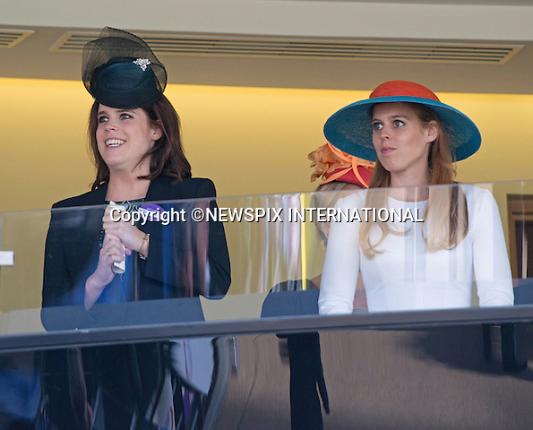 18.06.2015; Ascot, UK: ROYAL ASCOT LADIES DAY 2015 - PRINCESSES BEATRICE AND EUGENIE<br /> attend Ladies Day of the Royal Ascot Race Meeting.<br /> Mandatory Photo Credit: &copy;Dias/NEWSPIX INTERNATIONAL<br /> <br /> **ALL FEES PAYABLE TO: &quot;NEWSPIX INTERNATIONAL&quot;**<br /> <br /> PHOTO CREDIT MANDATORY!!: NEWSPIX INTERNATIONAL(Failure to credit will incur a surcharge of 100% of reproduction fees)<br /> <br /> IMMEDIATE CONFIRMATION OF USAGE REQUIRED:<br /> Newspix International, 31 Chinnery Hill, Bishop's Stortford, ENGLAND CM23 3PS<br /> Tel:+441279 324672  ; Fax: +441279656877<br /> Mobile:  0777568 1153<br /> e-mail: info@newspixinternational.co.uk
