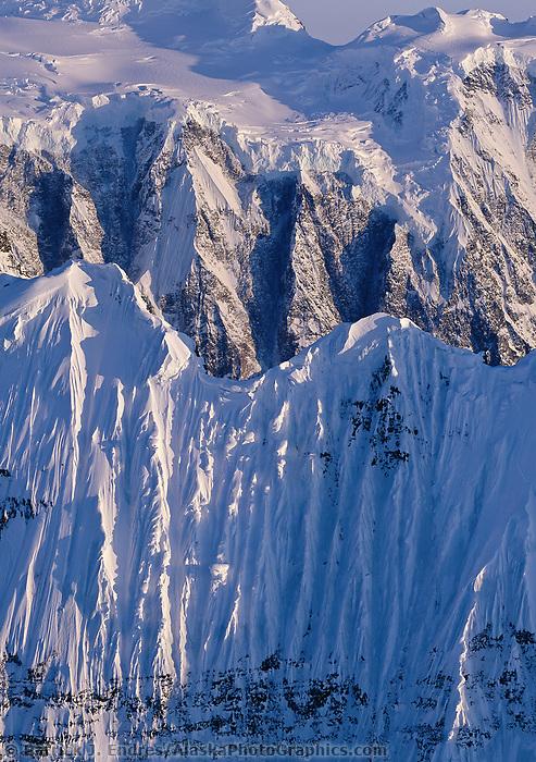 Fluted ridge of The Grand Parapet, Wrangell St. Elias Mountain range, Wrangell St. Elias National Park, Alaska.