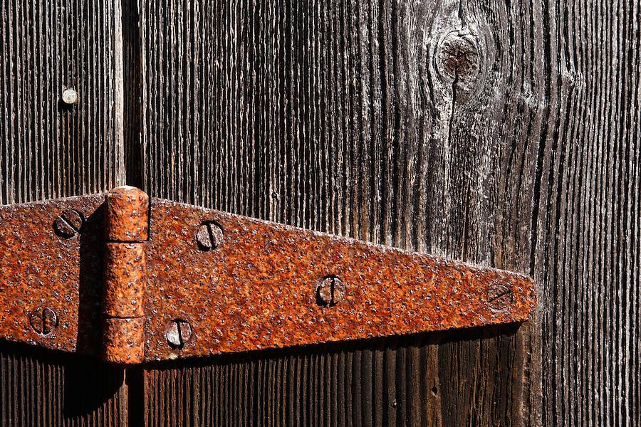 Rusted door hinge, Cedar Rock Preserve, Shaw Island, Washington, USA